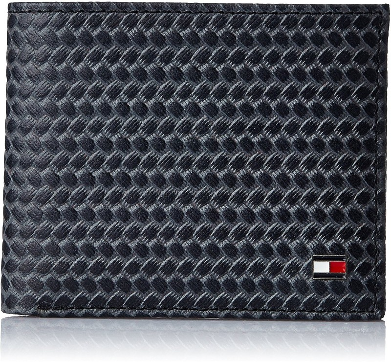 Tommy Hilfiger Men Black, Grey Genuine Leather Wallet(4 Card Slots)
