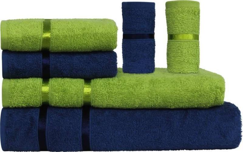 Story@Home 6 Piece Cotton Bath Linen Set(Green, Blue, Pack of 6)