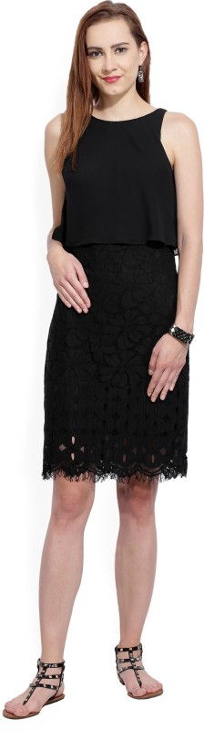 AND Womens Layered Black Dress