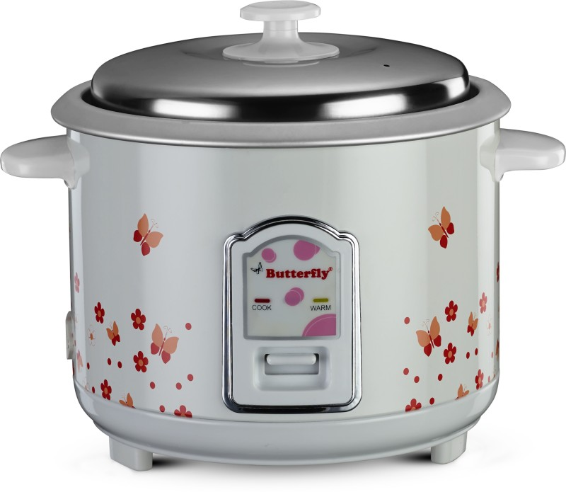 Butterfly Blossom Electric Rice Cooker(1.8 L, White)