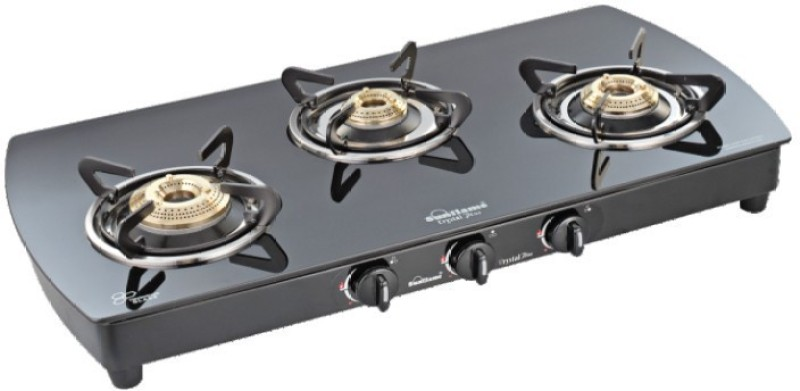Sunflame Crystal Plus 3B BK Glass Automatic Gas Stove(3 Burners)