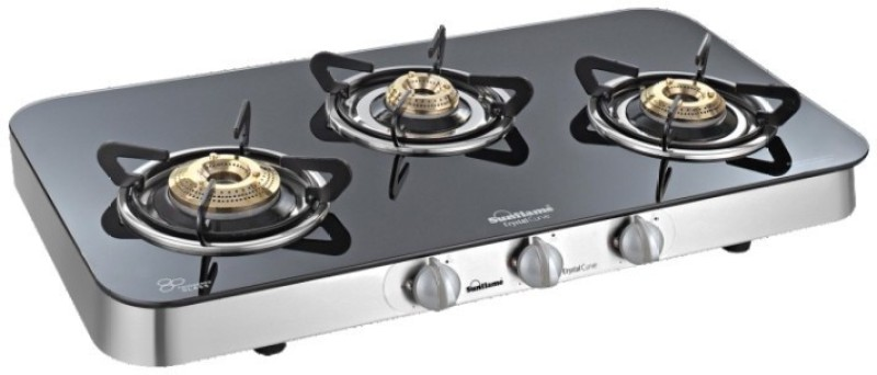 Sunflame Crystal Curve 3B SS auto Glass Automatic Gas Stove(3 Burners)