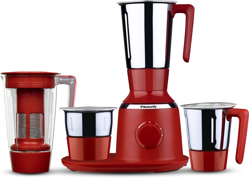Butterfly Spectra Red 750 W Mixer Grinder(Red, 4 Jars)