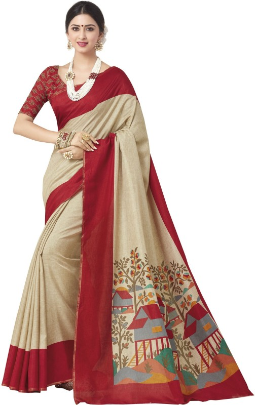 Nilesh Fab Printed Bollywood Handloom Silk Cotton Blend Saree(Multicolor)