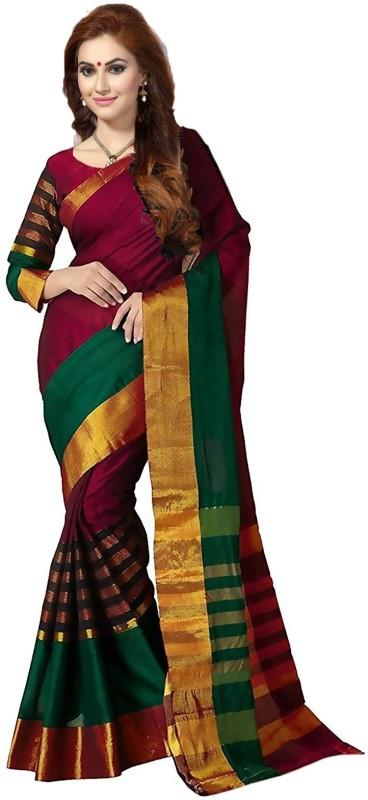 Ishin Printed Fashion Jacquard Saree(Multicolor)