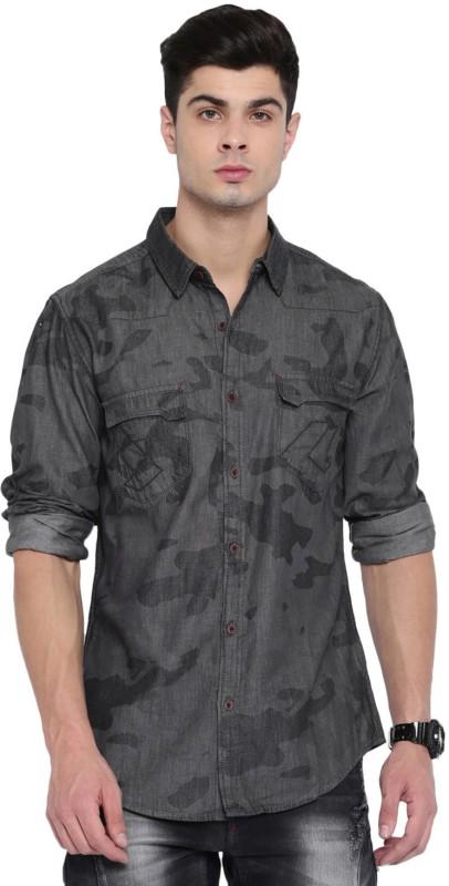 Roadster Men Printed Casual Grey Shirt