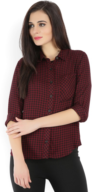 Forever 21 Womens Checkered Casual Red, Black Shirt