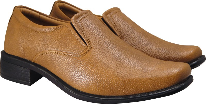 Action Synergy Mens RYD14438 Tan Formal Slip On For Men(Tan)