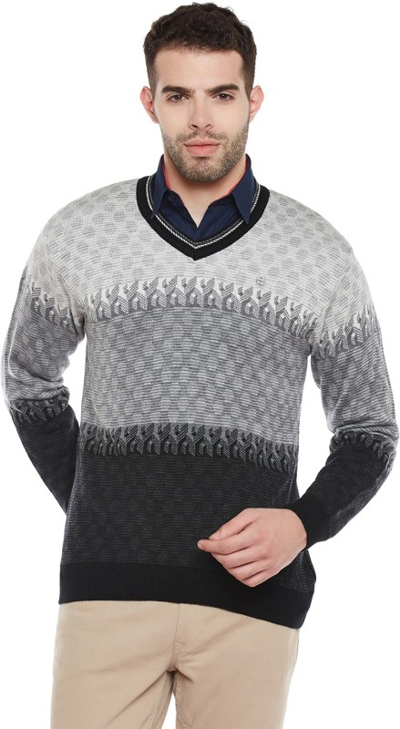 Duke Solid V-neck Casual Men Grey Sweater