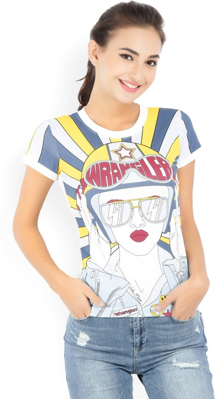 Wrangler Printed Womens Round Neck White T-Shirt