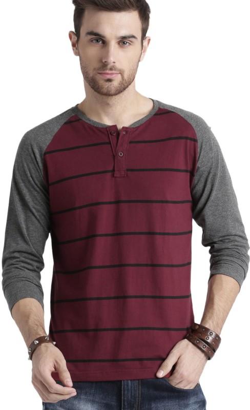 Roadster Striped Men Henley Maroon, Black T-Shirt