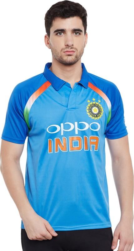 Sportigo Self Design Men's Polo Neck Blue T-Shirt