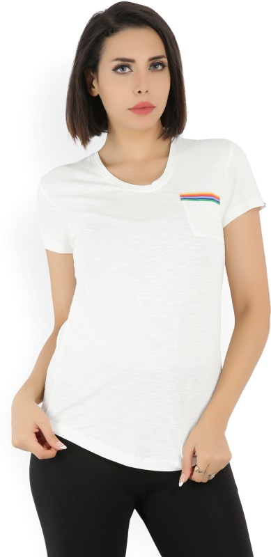 Wrangler Solid Womens Scoop Neck White T-Shirt
