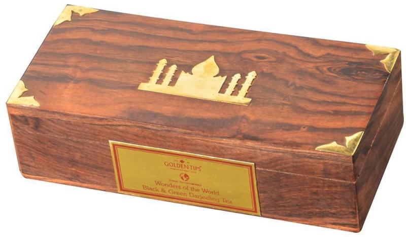 Golden Tips Black Tea And Green Tea - Carved Wooden Box Tea Blend(100 g, Box)