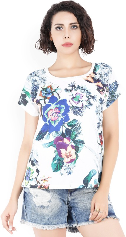 Jealous Casual Short Sleeve Printed Women Multicolor Top