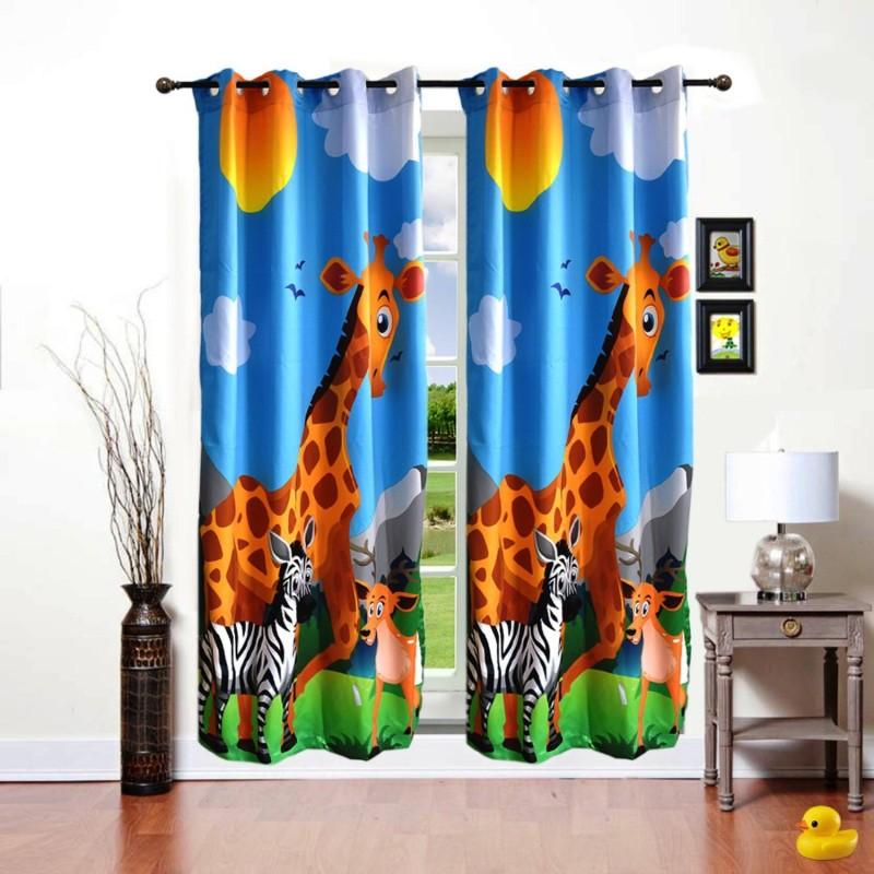ShopyBucket Cartoon Printed_14 Curtain Fabric(Multicolor, 2.13 m)