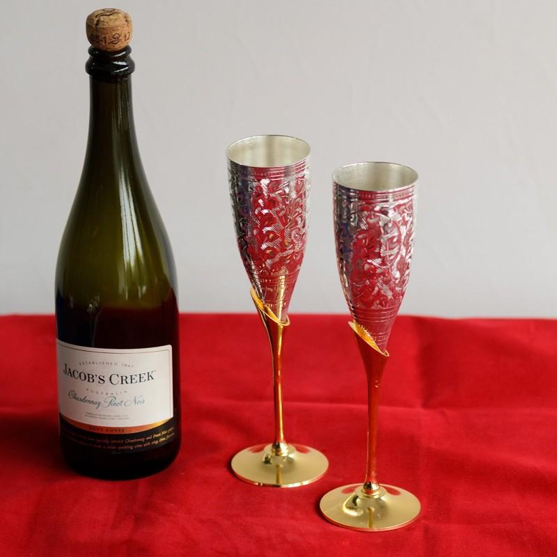 eCraftIndia German Silver Wine Glass Set with Velvet Box Brass Decorative Platter(Multicolor, Pack of 2)
