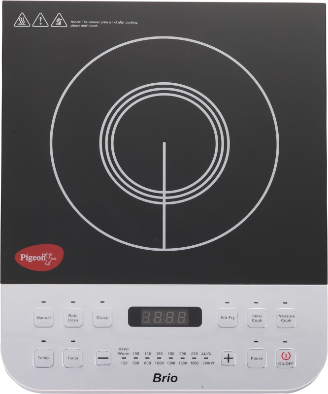 Pigeon Brio-2100W Induction Cooktop(Silver, Black, Push Button)