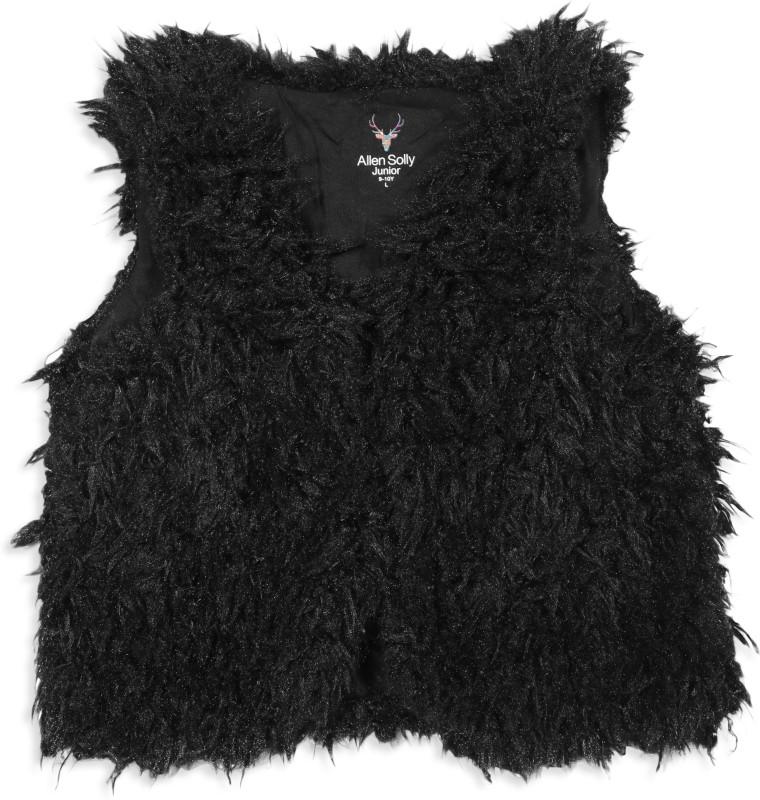 Allen Solly Junior Sleeveless Solid, Self Design Girls Jacket