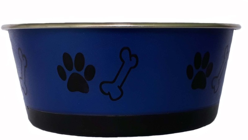 W9 High Quality Metal Dog Feeding Non Slippery Pet Food Bowl (Medium ) Round Steel Pet Bowl(1 L Blue)