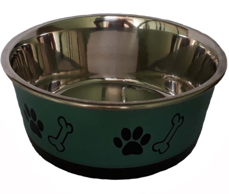 W9 High Quality Metal Dog Feeding Non Slippery Pet Food Bowl (Small ) Round Steel Pet Bowl(0.5 L Green)