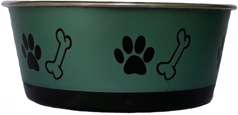W9 High Quality Metal Dog Feeding Non Slippery Pet Food Bowl (Medium ) Round Steel Pet Bowl(1 L Green)