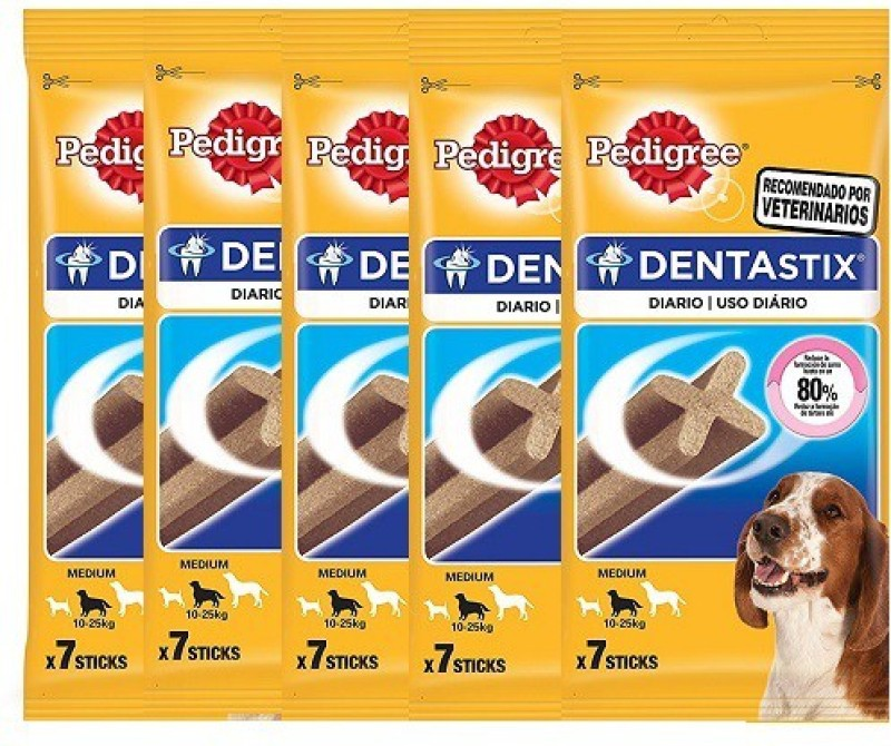 Pedigree Daily Oral Care Denta Stix Medium Dog Treat For Fresh Breath (7 in 1) (Pack Of 5) Chicken Dog Treat(900 g, Pack of 5)