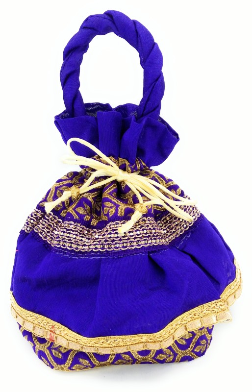 Magnas Magnas™ Potlis, Square Potli, Flat Potli, Ethnic Potli, Ethnic Wristlets (Blue) Potli(Multicolor)