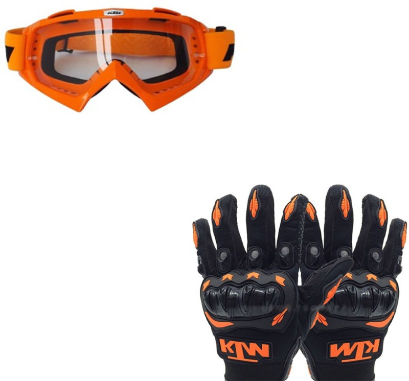 Capeshoppers COMBO OF KTM GLOVES AND GOGGLE Driving Gloves (Free Size, Multicolor)