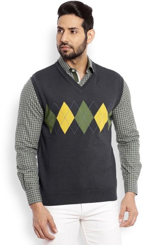 Raymond Self Design V-neck Formal Men Green Sweater