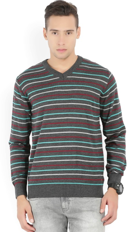 Raymond Striped V-neck Casual Men Grey Sweater