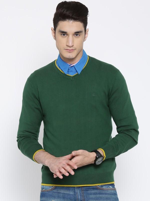 United Colors of Benetton Solid V-neck Men Black Sweater