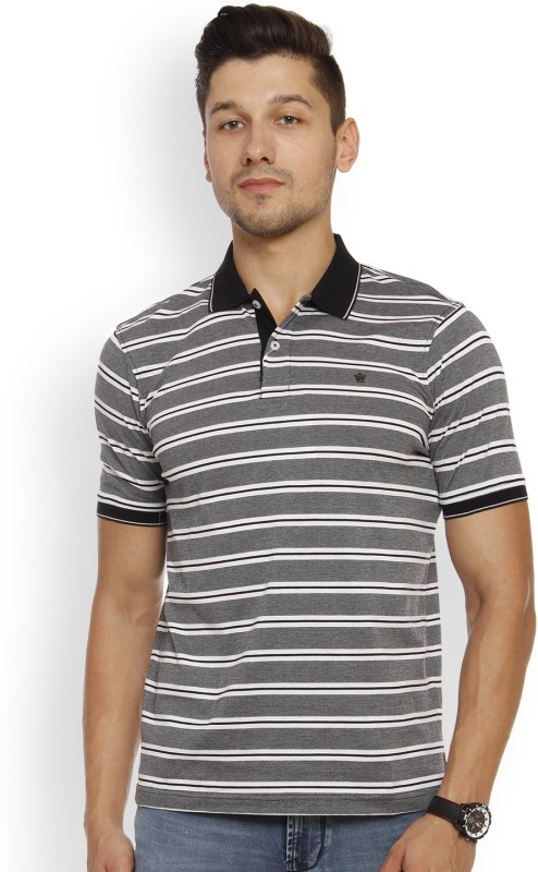 Louis Philippe Striped Mens Polo Neck T-Shirt