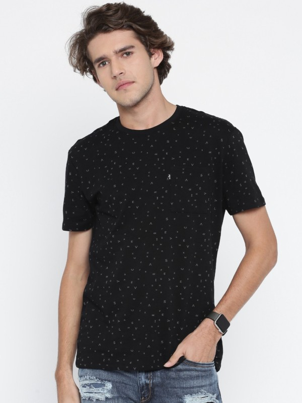 Levis Printed Mens Round Neck Black T-Shirt