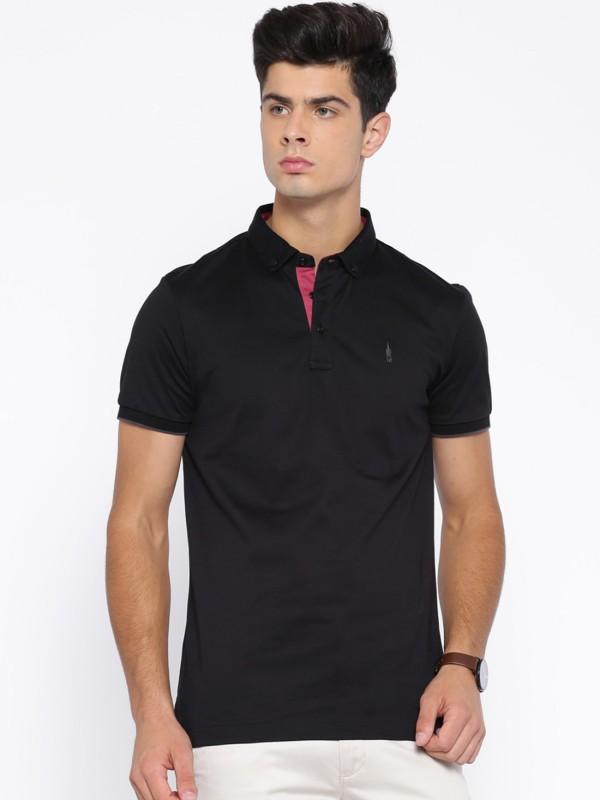 Arrow New York Solid Mens Polo Neck Black T-Shirt