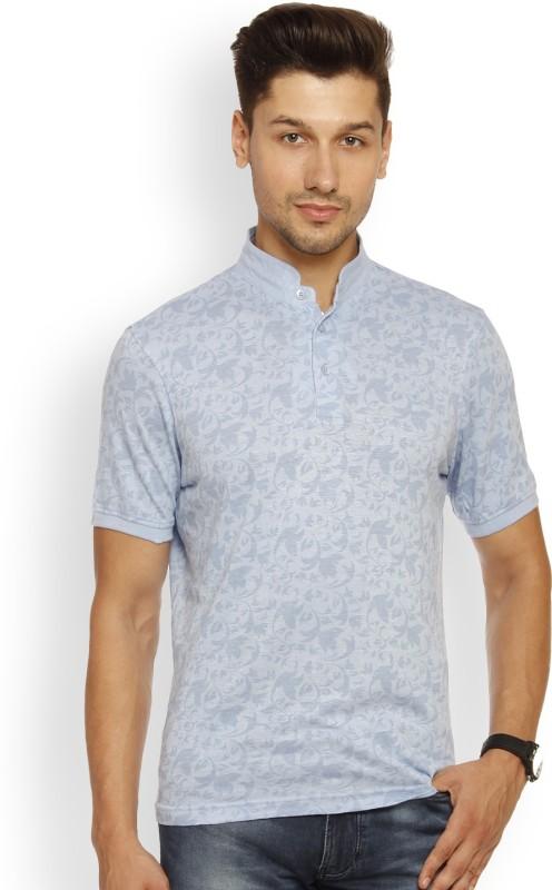 Louis Philippe Printed Mens Mandarin Collar Blue T-Shirt