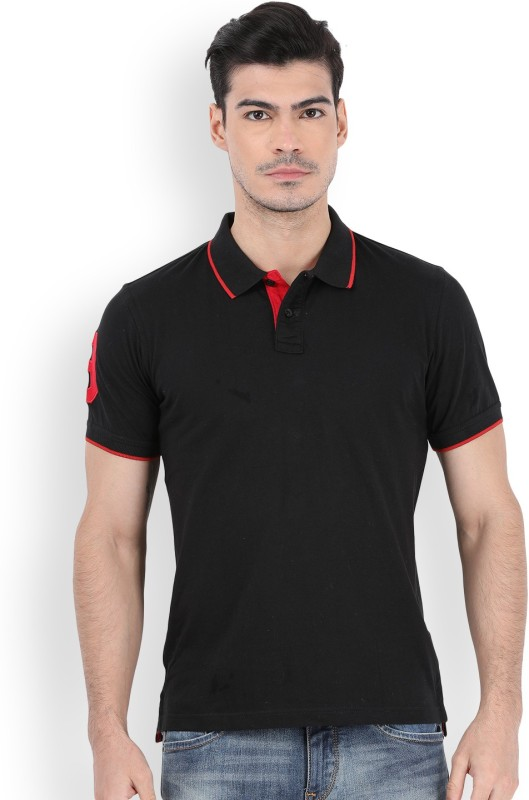 Peter England Solid Mens Polo Neck Black T-Shirt
