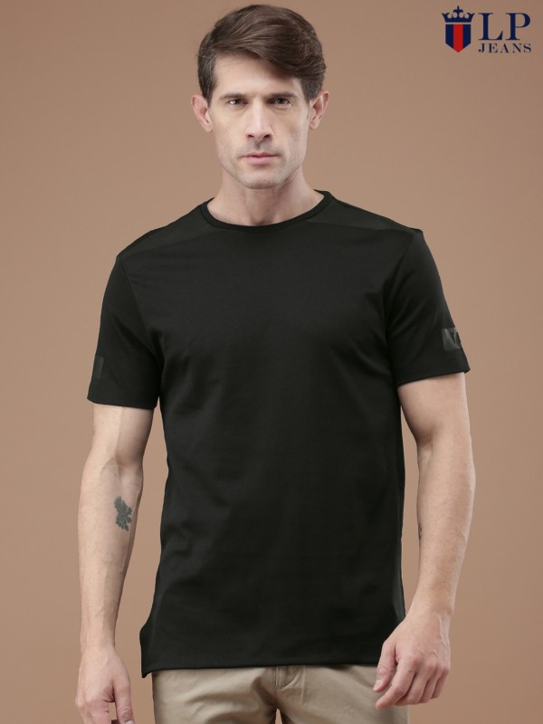 LP Jeans by Louis Philippe Printed Mens Round Neck Black T-Shirt
