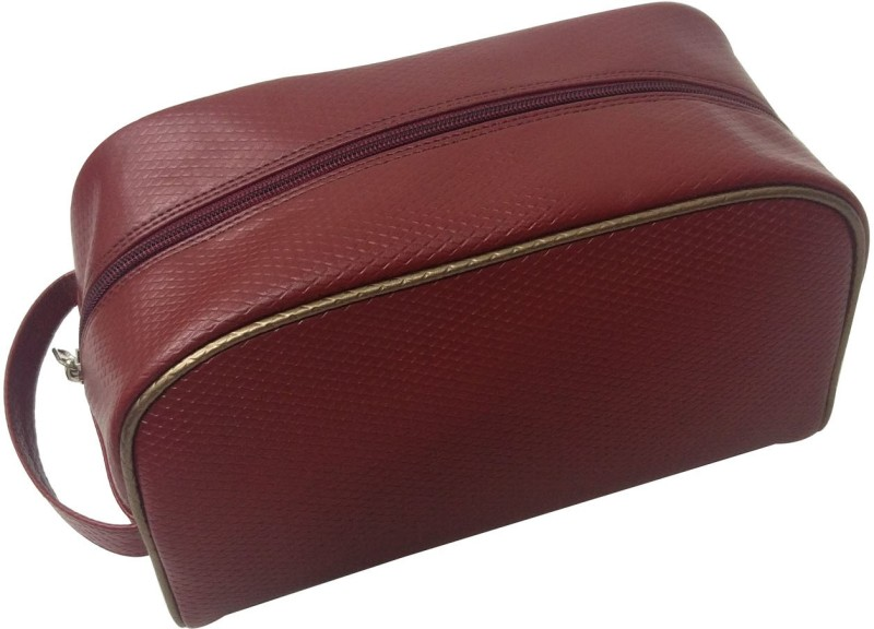 Essart Faux Leather self-print vanity pouch single compartment with zipp closure - VP-1110-Maroon Makeup Vanity Box(Maroon)