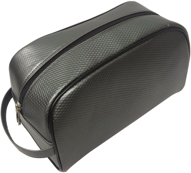 Essart Faux Leather self-print vanity pouch single compartment with zipp closure - VP-1110-Grey Makeup Vanity Box(Grey)