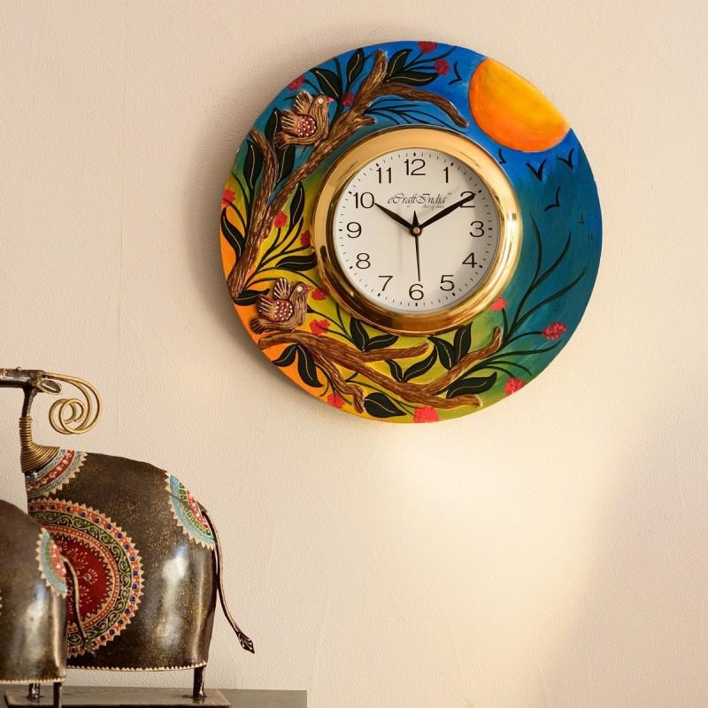 eCraftIndia Analog 30 cm X 31 cm Wall Clock(Blue, With Glass)