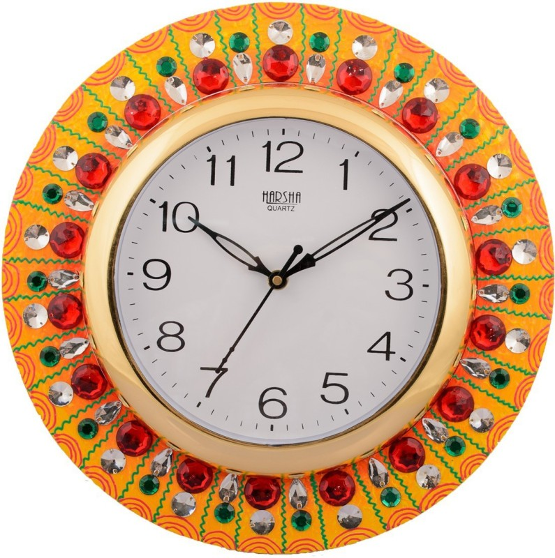 eCraftIndia Analog 30 cm X 30 cm Wall Clock(Multicolor, With Glass)