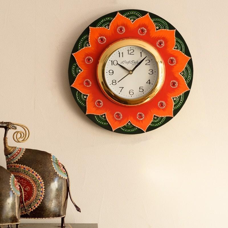 eCraftIndia Analog 30 cm X 31 cm Wall Clock(Red, Orange, With Glass)