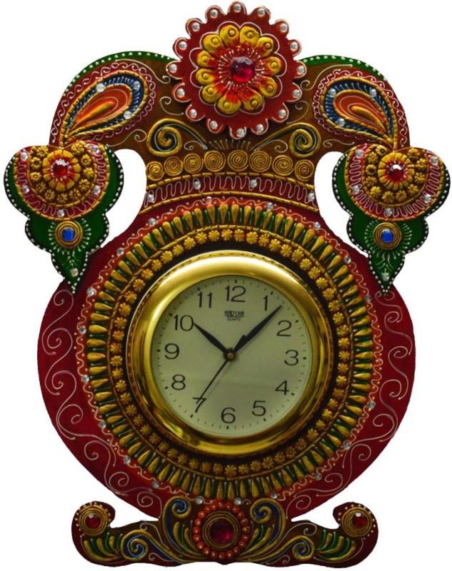 eCraftIndia Analog 45.72 cm X 36.83 cm Wall Clock(Multicolor, With Glass)
