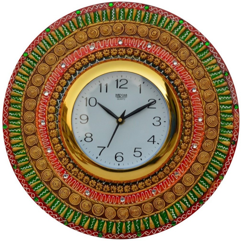 eCraftIndia Analog 30.48 cm X 30.48 cm Wall Clock(Multicolor, With Glass)