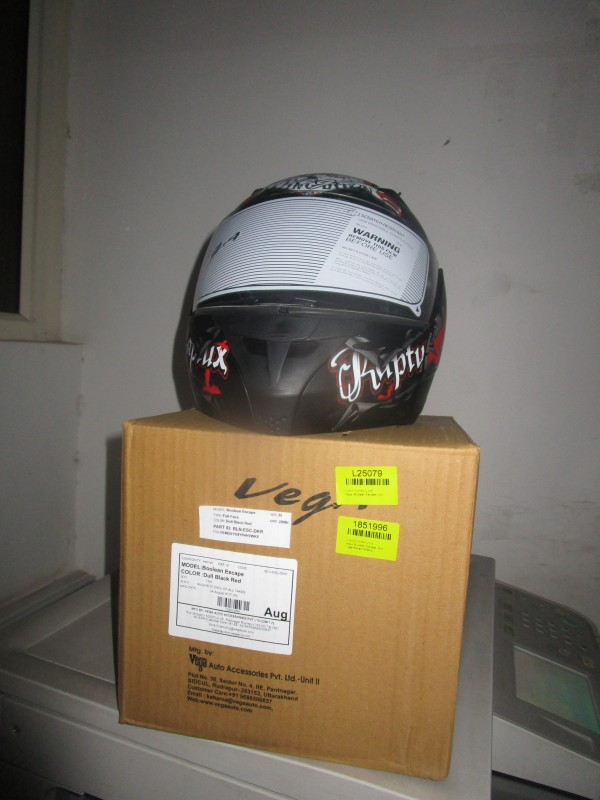 Vega Boolean Escape Motorsports Helmet(Dull Black, Red)