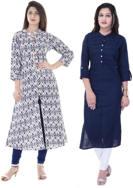 Stylum Casual Printed Women Kurti(Pack of 2, White, Blue, Brown)