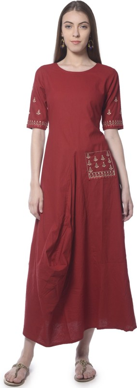 Vedic Festive & Party Solid Women Kurti(Maroon)