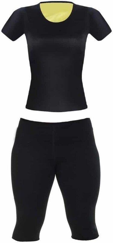 Being Trendy ™ Hot Shapers Neoprene Slimming Traning T-Shirt & Control Pants Set Women Compression(Black Half Sleeve)