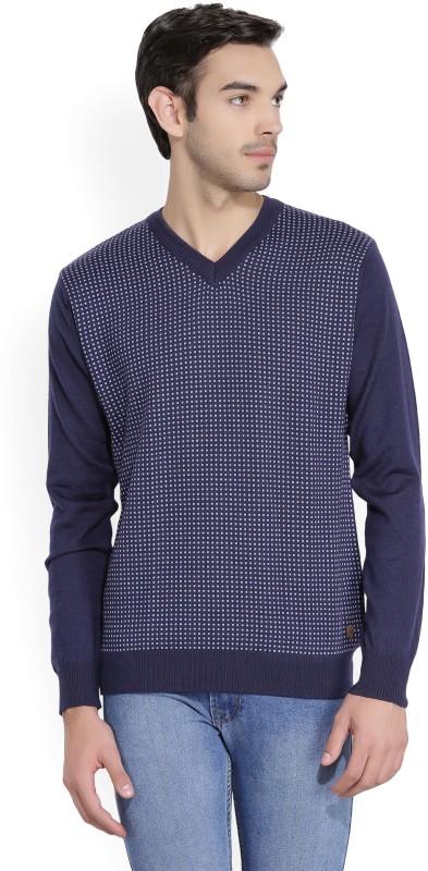 Raymond Self Design V-neck Formal Men Dark Blue Sweater